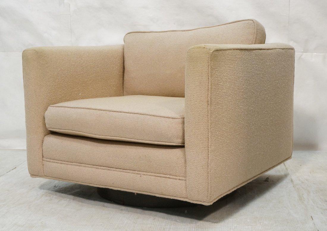 Oatmeal Fabric Cube form Lounge Chair. Milo Baugh