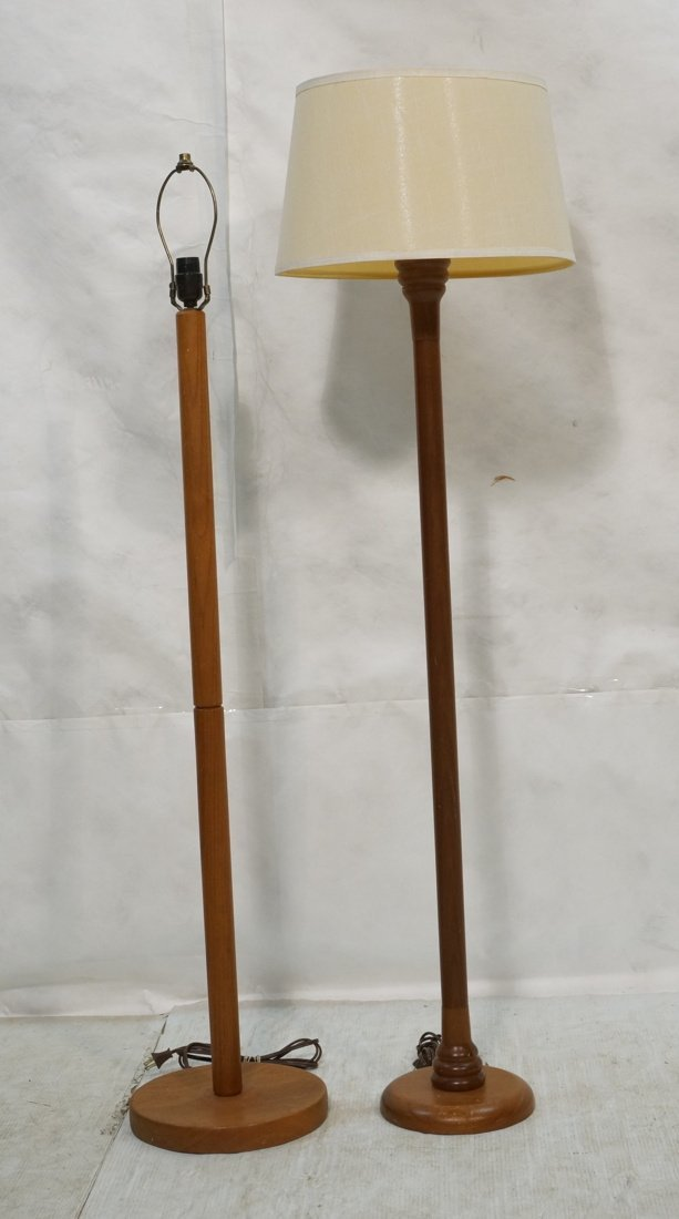2 Danish Teak Floor Lamps. Single Column Form.