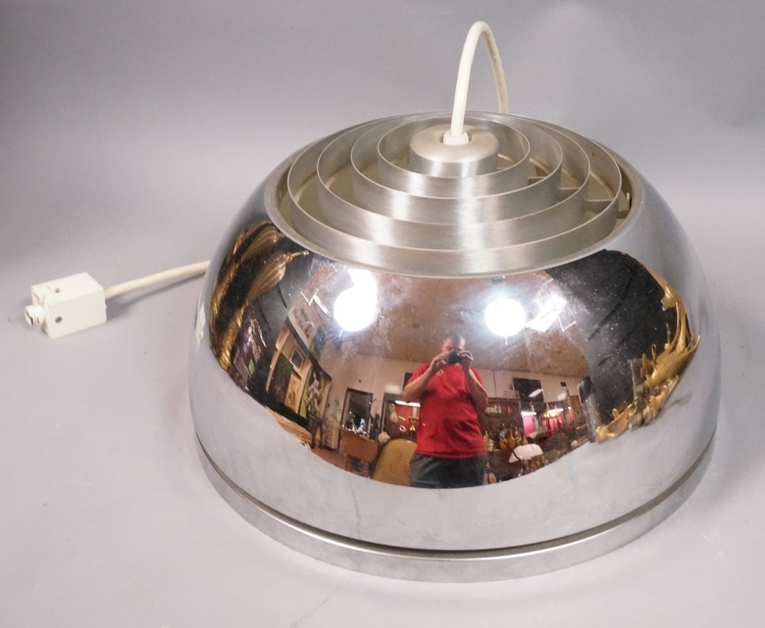 Chrome Dome Hanging Pendant Light. Glass Diffuser