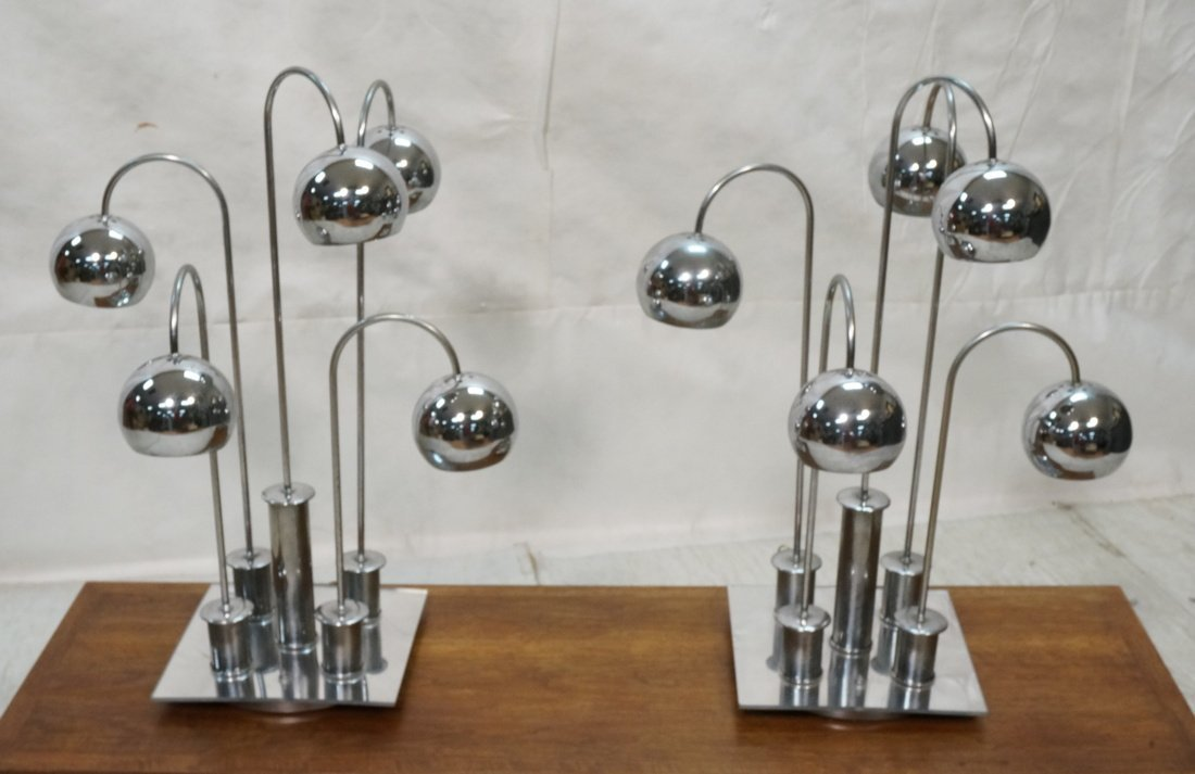 Pr Chrome arched arm table lamps. Italian 1970's.