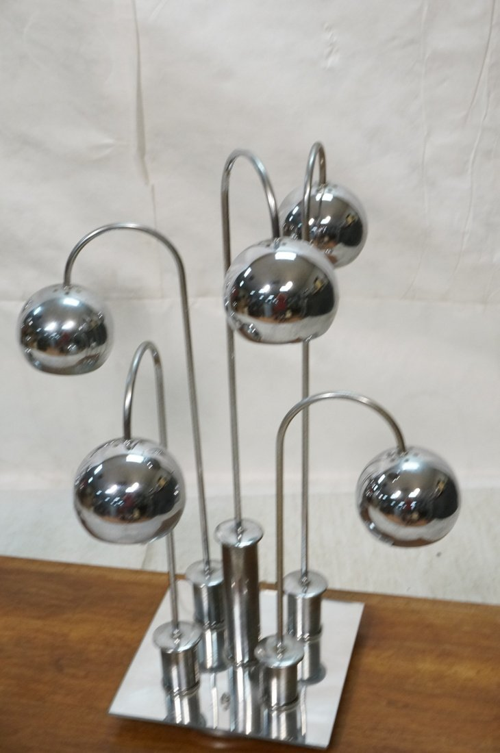 Pr Chrome arched arm table lamps. Italian 1970's. - 2