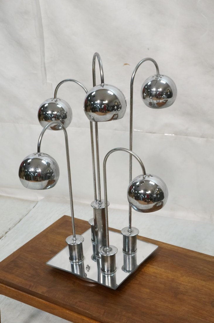 Pr Chrome arched arm table lamps. Italian 1970's. - 3