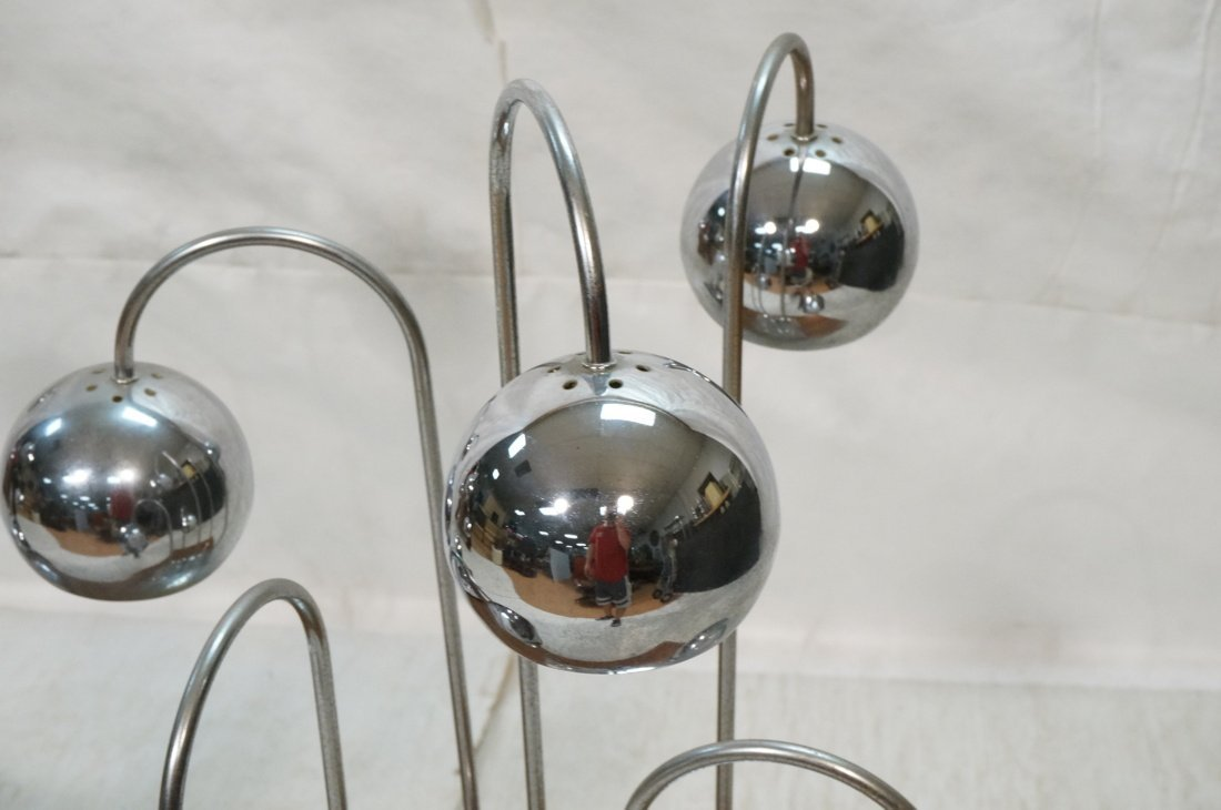 Pr Chrome arched arm table lamps. Italian 1970's. - 4