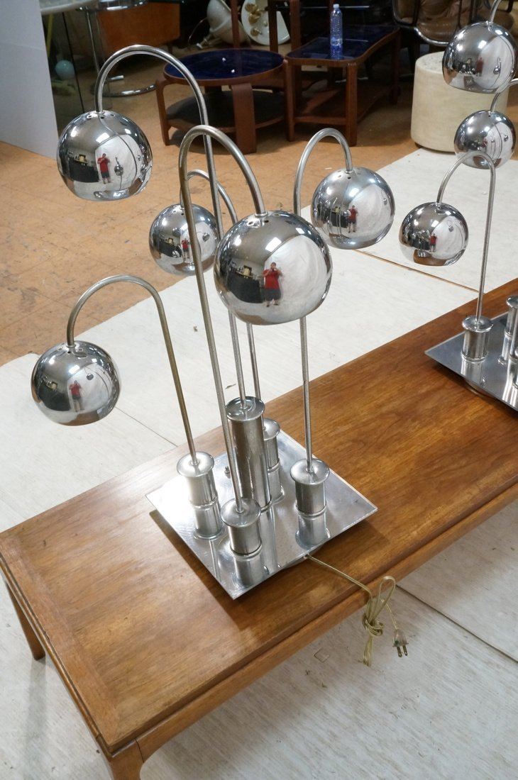 Pr Chrome arched arm table lamps. Italian 1970's. - 8