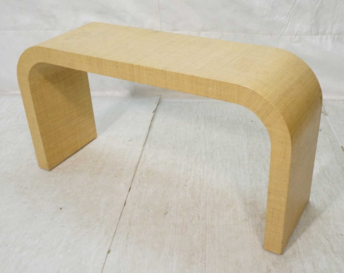 Grass Cloth Covered Console Table. Springer style