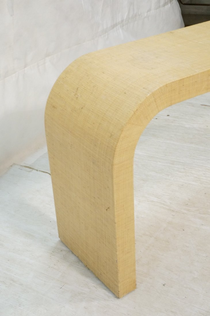 Grass Cloth Covered Console Table. Springer style - 3