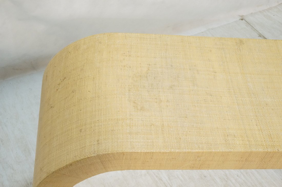 Grass Cloth Covered Console Table. Springer style - 4
