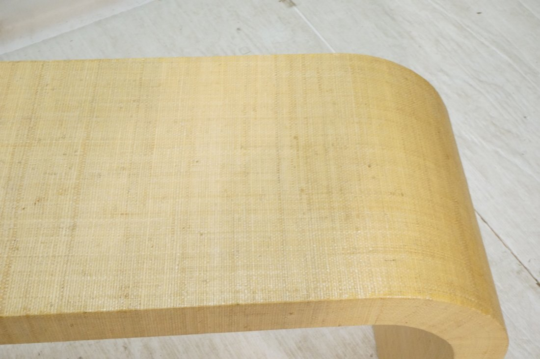 Grass Cloth Covered Console Table. Springer style - 5