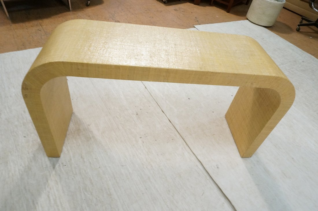 Grass Cloth Covered Console Table. Springer style - 7