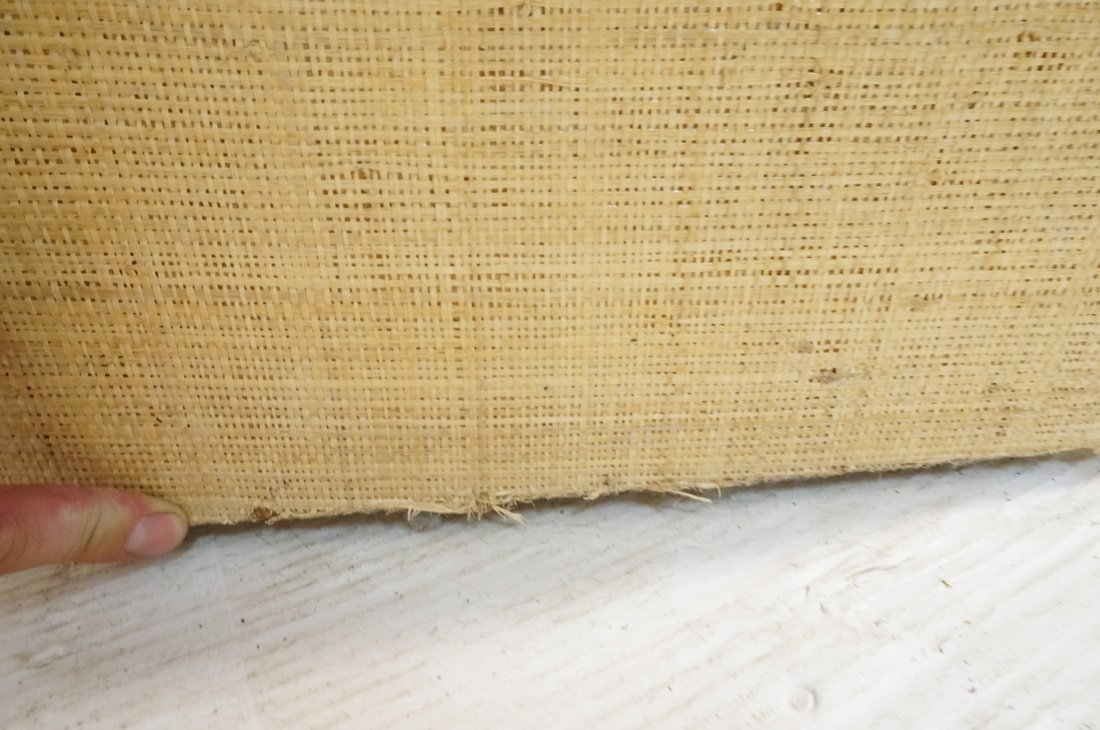 Grass Cloth Covered Console Table. Springer style - 8