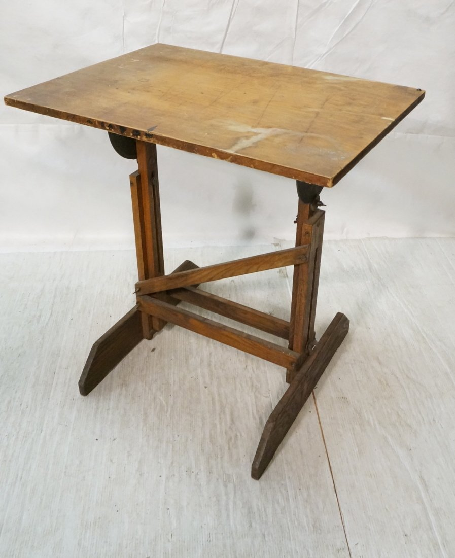 Vintage SMALL Oak Drafting Table. Adjustable heig