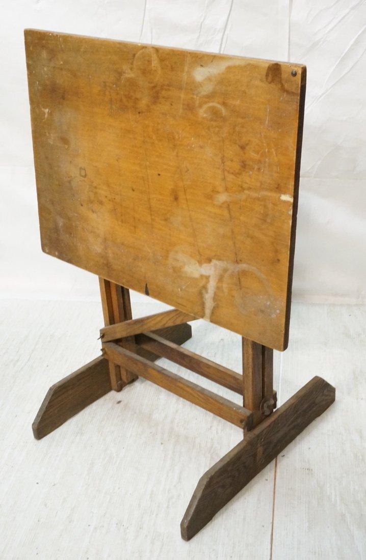 Vintage SMALL Oak Drafting Table. Adjustable heig - 2