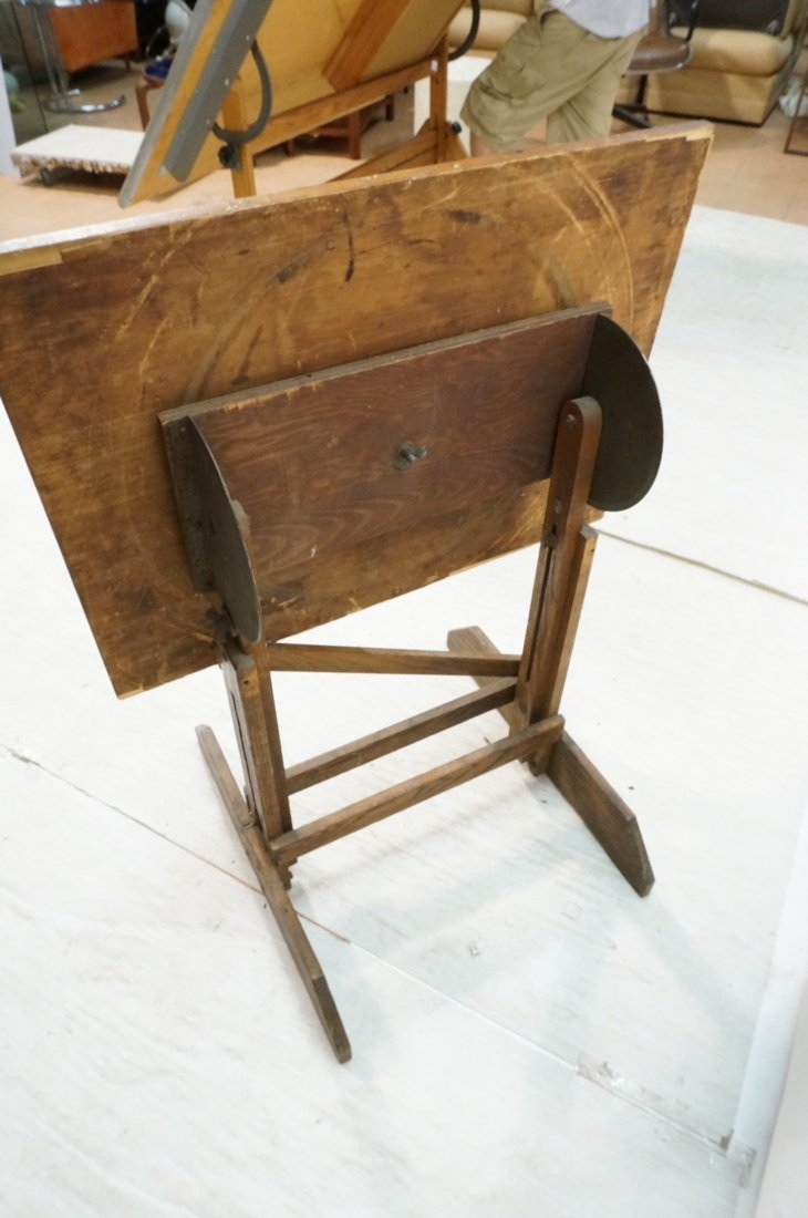 Vintage SMALL Oak Drafting Table. Adjustable heig - 5