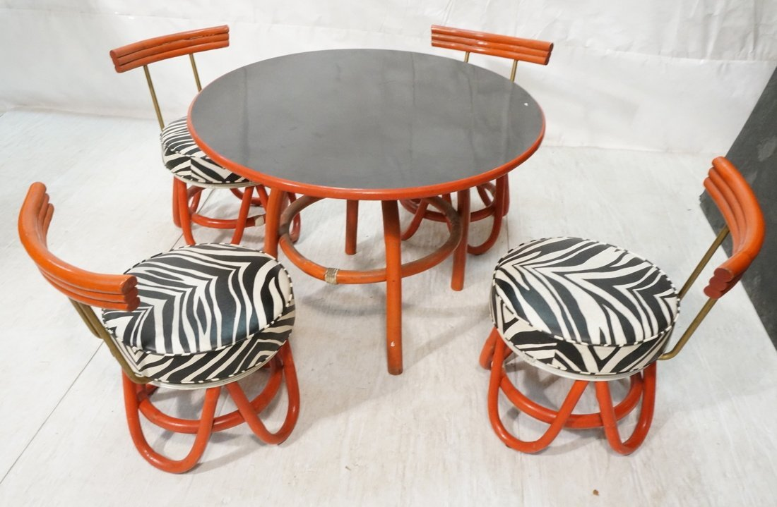 Red Painted Rattan Table & Four Low Chairs. Black