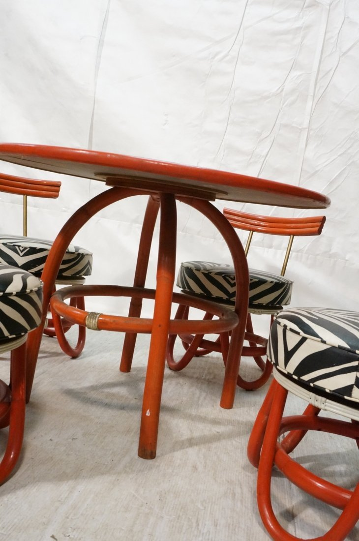 Red Painted Rattan Table & Four Low Chairs. Black - 5