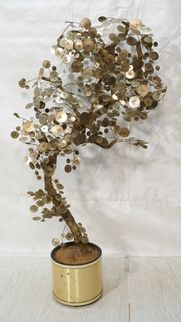 C JERE Raindrop Mixed Metal Tree. Gold tone plant