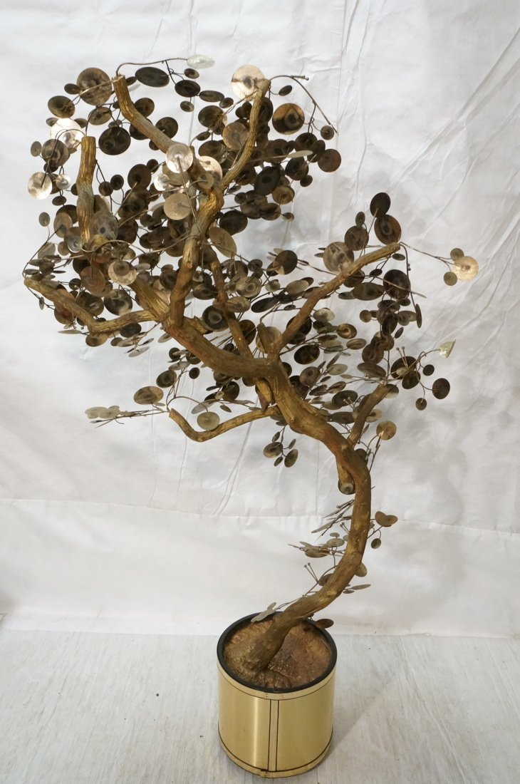 C JERE Raindrop Mixed Metal Tree. Gold tone plant - 8