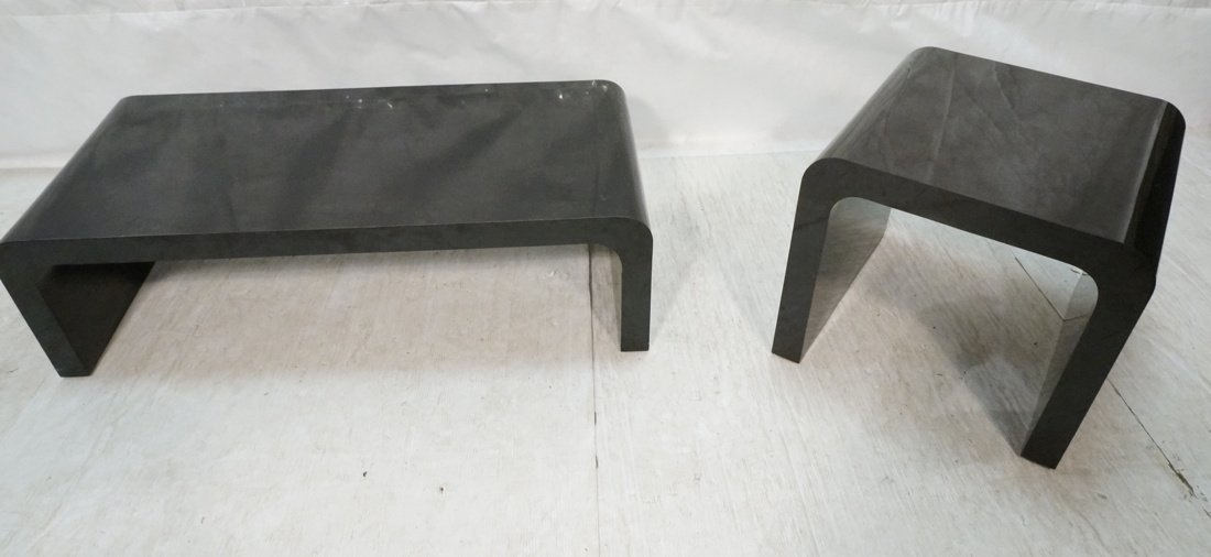 2pcs 70's Modern Tables. Black Laminate Coffee &