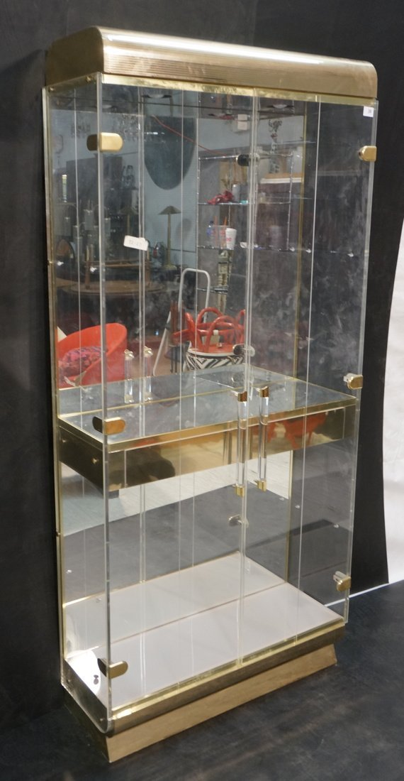 80's Lucite & Gold Tone Curio Display Cabinet. Tw