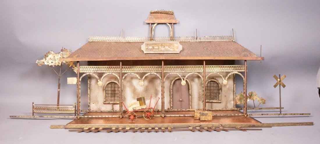 JERE  Wall Sculpture of Train Station.  Signed.