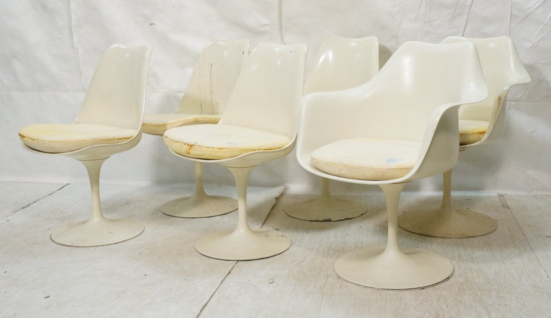 Set 6 Eero Saarinen Dining Chairs.  2 with Arms.