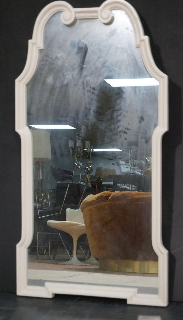 Italian Decorator Mirror with White Wood Frame.