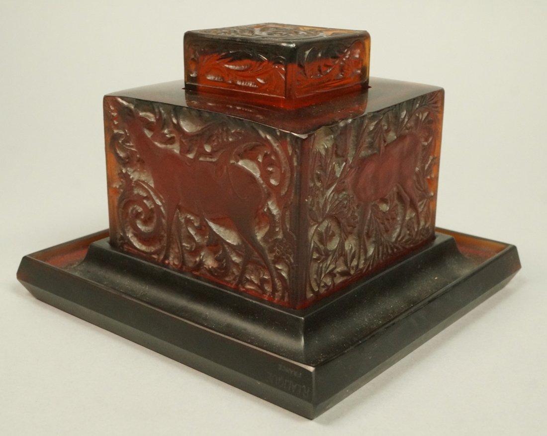 RENE LALIQUE Antique Art Deco Crystal BICHE Inkwe
