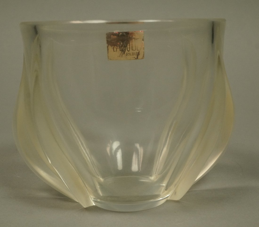LALIQUE French Crystal Tulip Vase. Clear glass wi