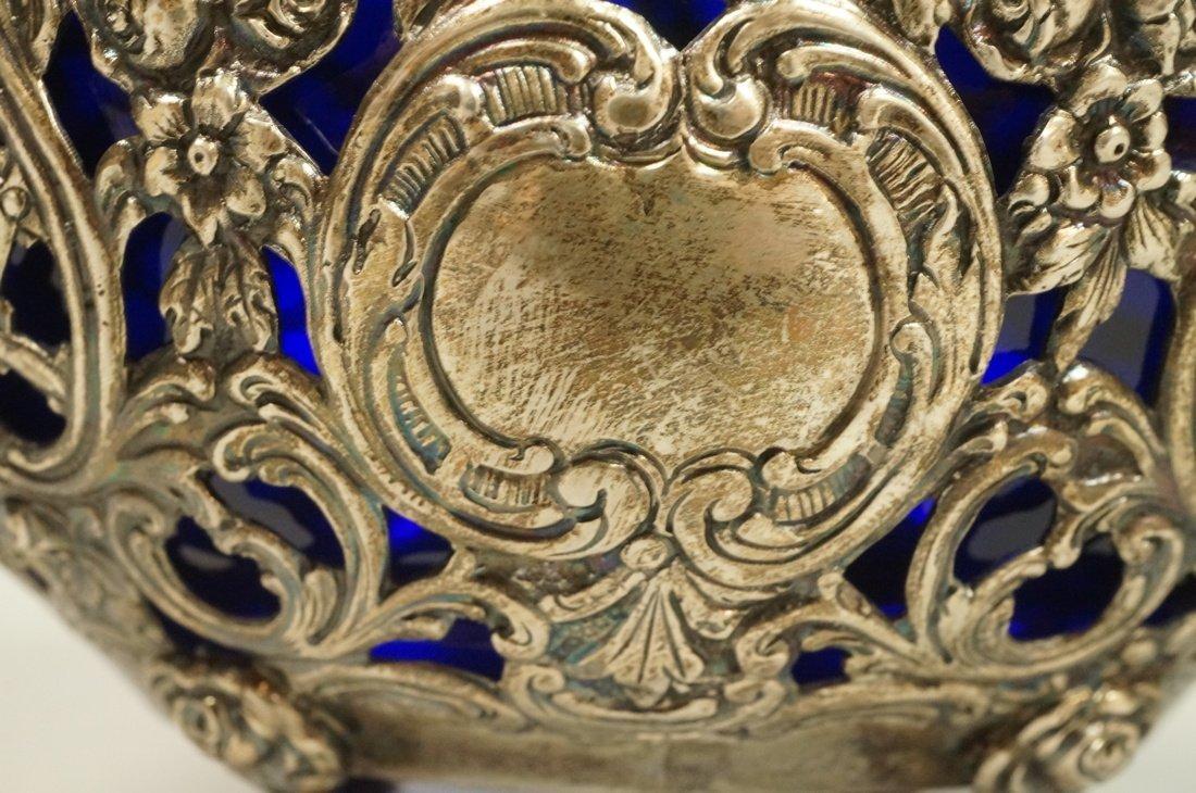 .800 Silver Fancy Basket with cobalt glass liner. - 2
