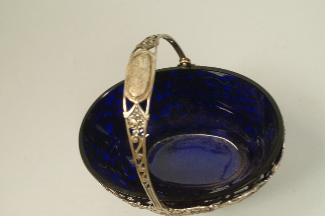 .800 Silver Fancy Basket with cobalt glass liner. - 3