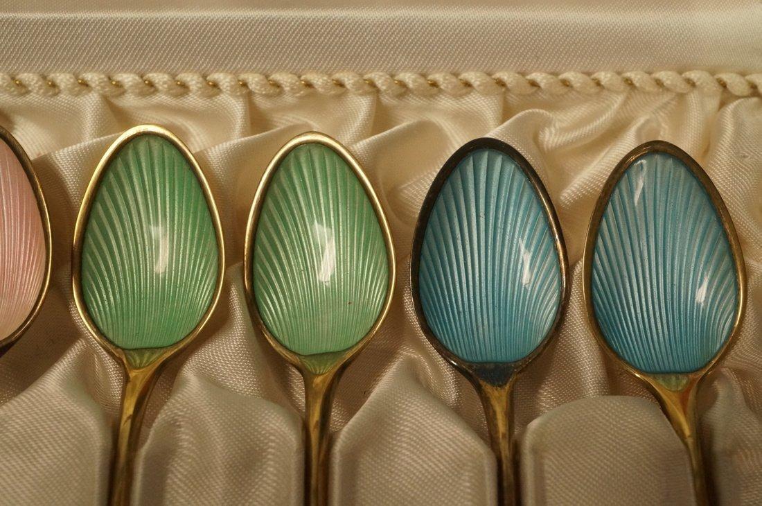 12 Danish Demitasse Enamel Sterling Spoons. FRIGA - 4
