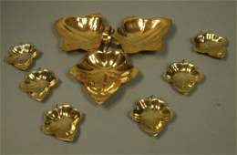 7pc TIFFANY & CO Gilt Sterling Leaf Nut Set. Larg