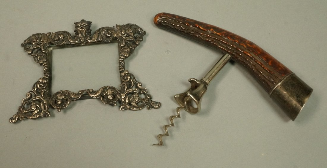2pc Sterling Lot. 1) Sterling Hanging Picture Fra