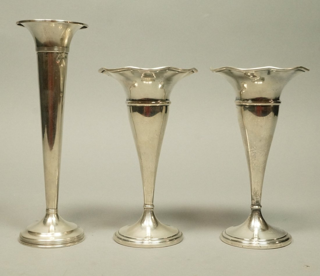 Lot Three Sterling Trumpet Vases. Pair with flare