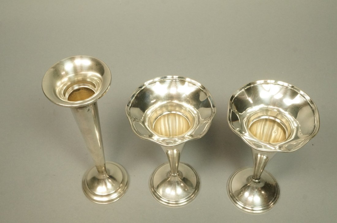 Lot Three Sterling Trumpet Vases. Pair with flare - 2