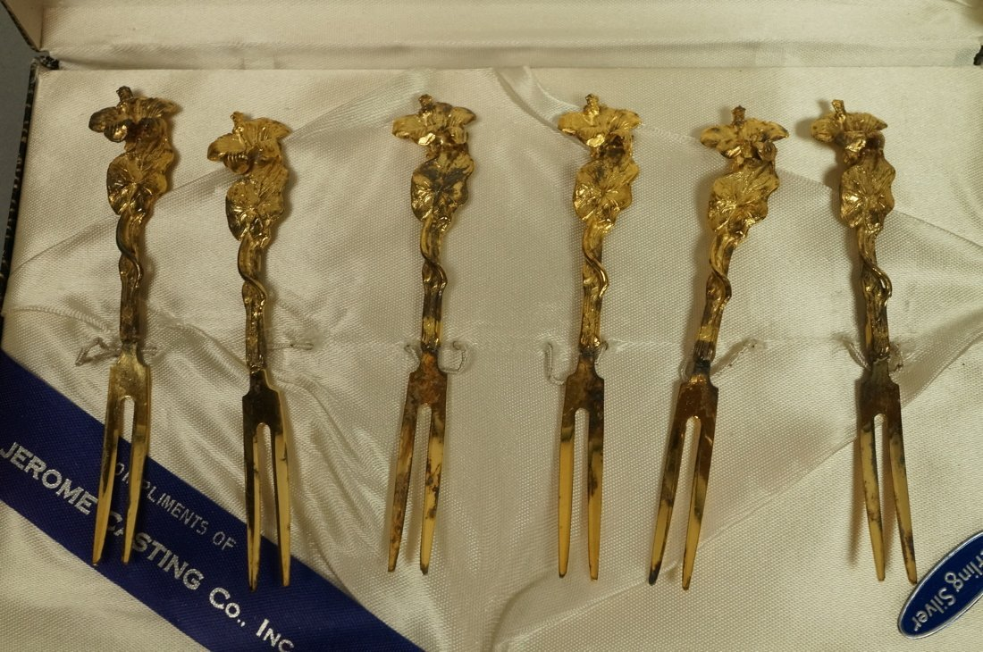 2 sets TOW Gilt Sterling boxed Hors D'oeuvre Sets - 2