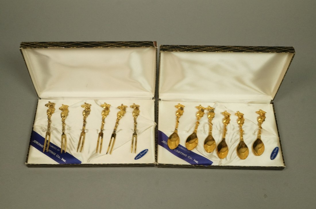 2 sets TOW Gilt Sterling boxed Hors D'oeuvre Sets - 7