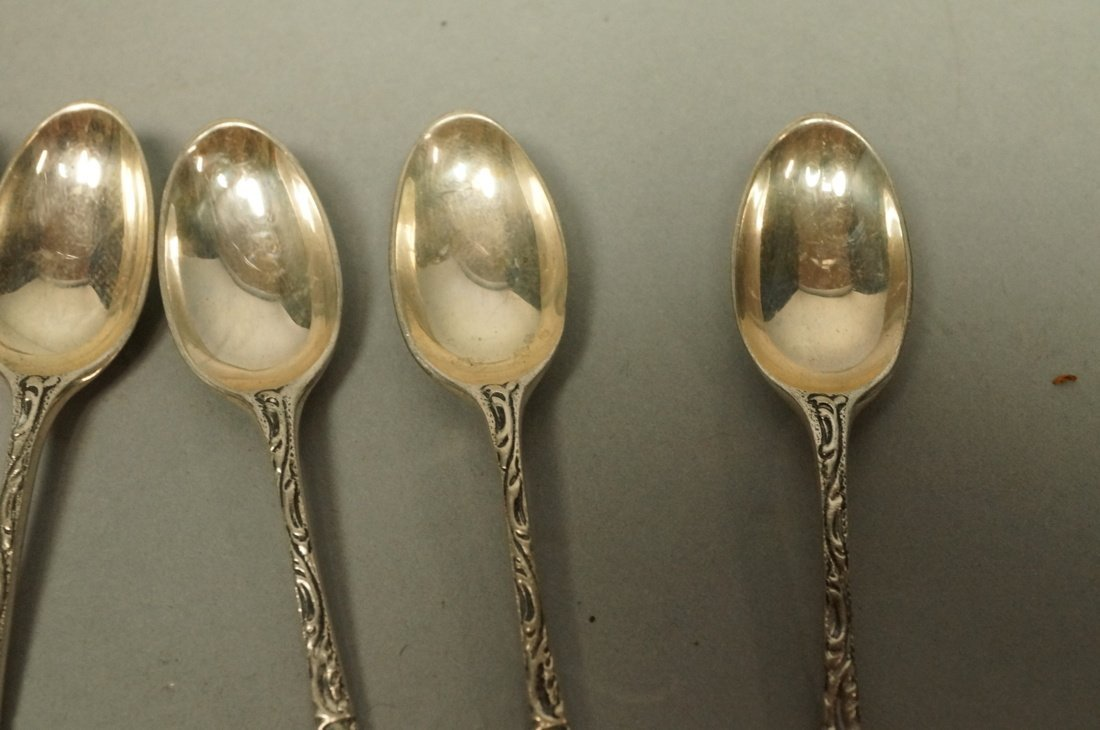 11pc Silver Items. 8 demitasse spoons marked zLz. - 5