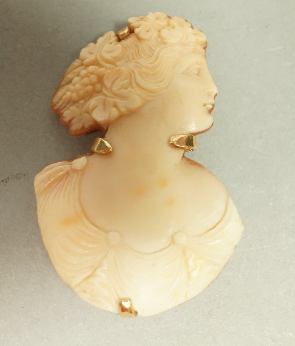 Unique 14K Gold Carved Cameo Pin Brooch.  Female