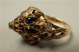 Vintage 14K Gold Gypsy Ring.  Multi stone.  3.5dw