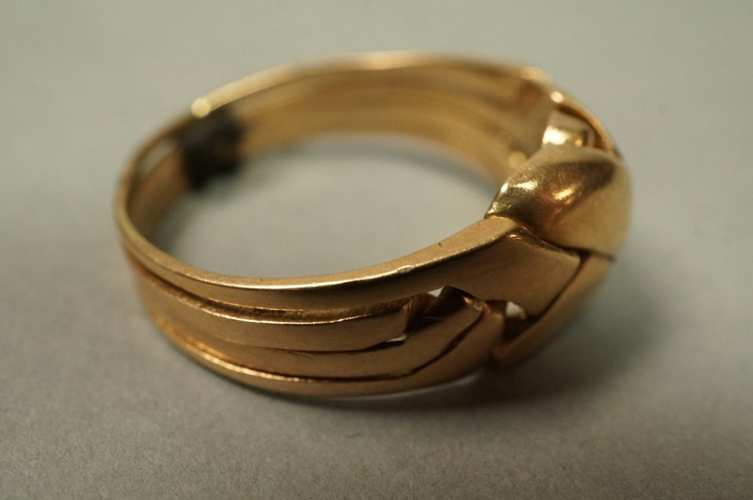 14K Gold Puzzle Ring.  4 interlocking sections. - 2
