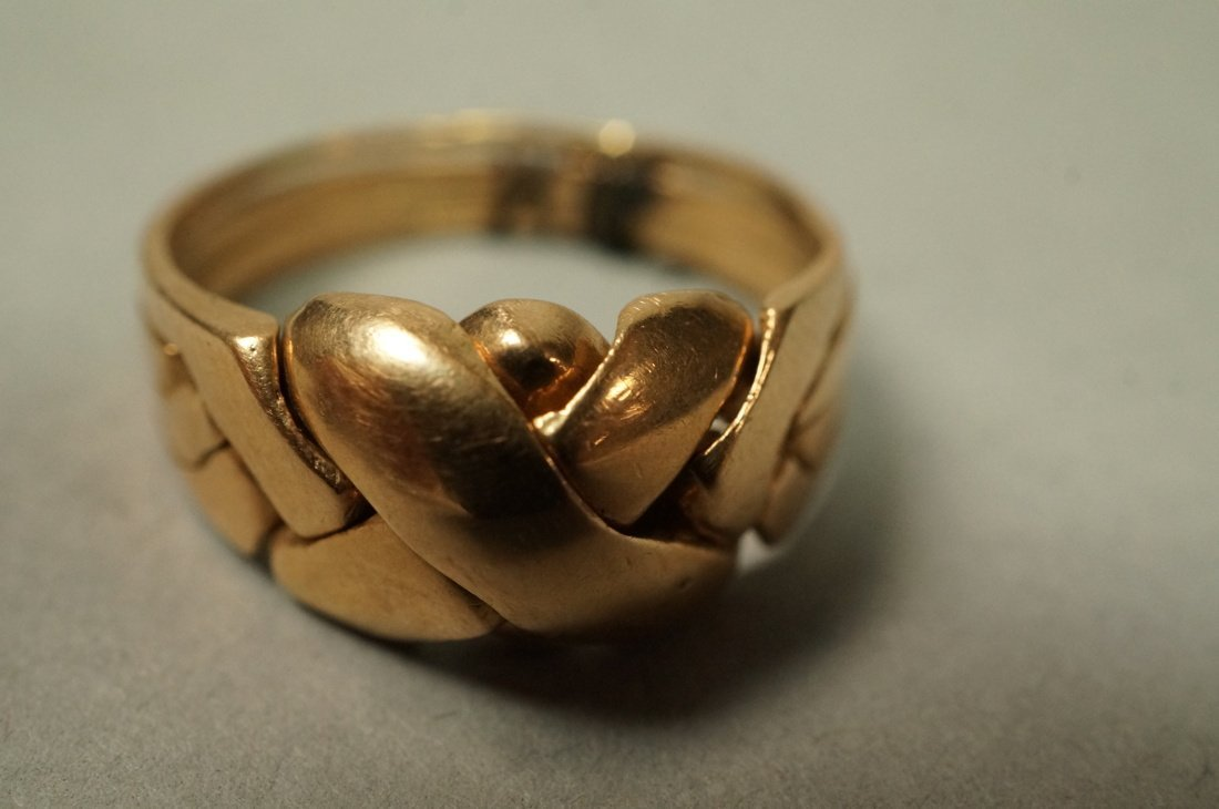14K Gold Puzzle Ring.  4 interlocking sections. - 3