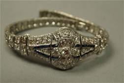 Antique Platinum Diamond Sapphire Bracelet. Grea