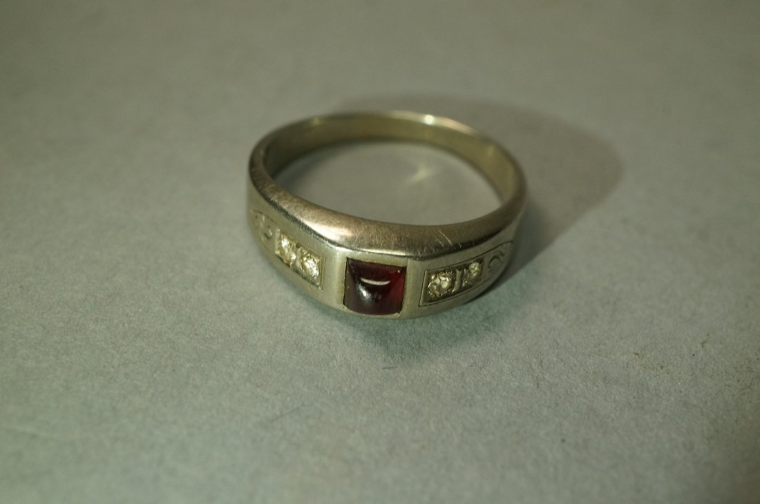 18K Gold Ruby and Diamond Ring.  Cabochon Ruby. - 2