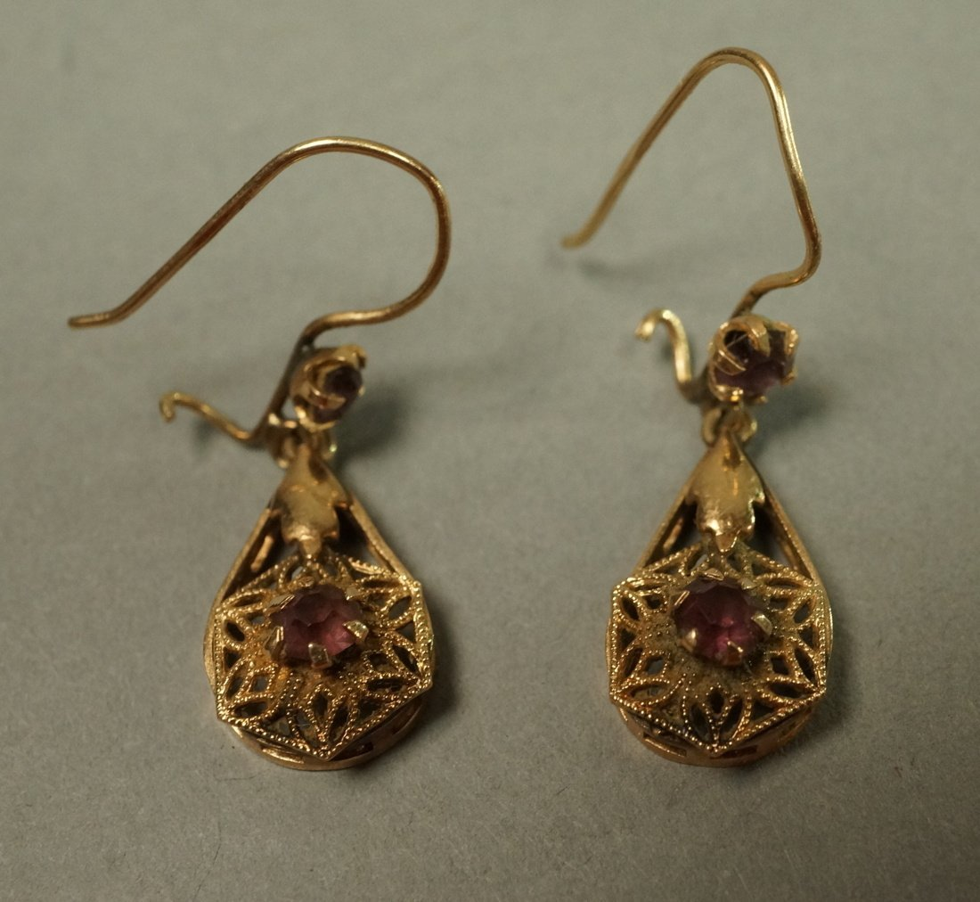 Pair 14K Gold Dangle Earrings. Filigree with smal