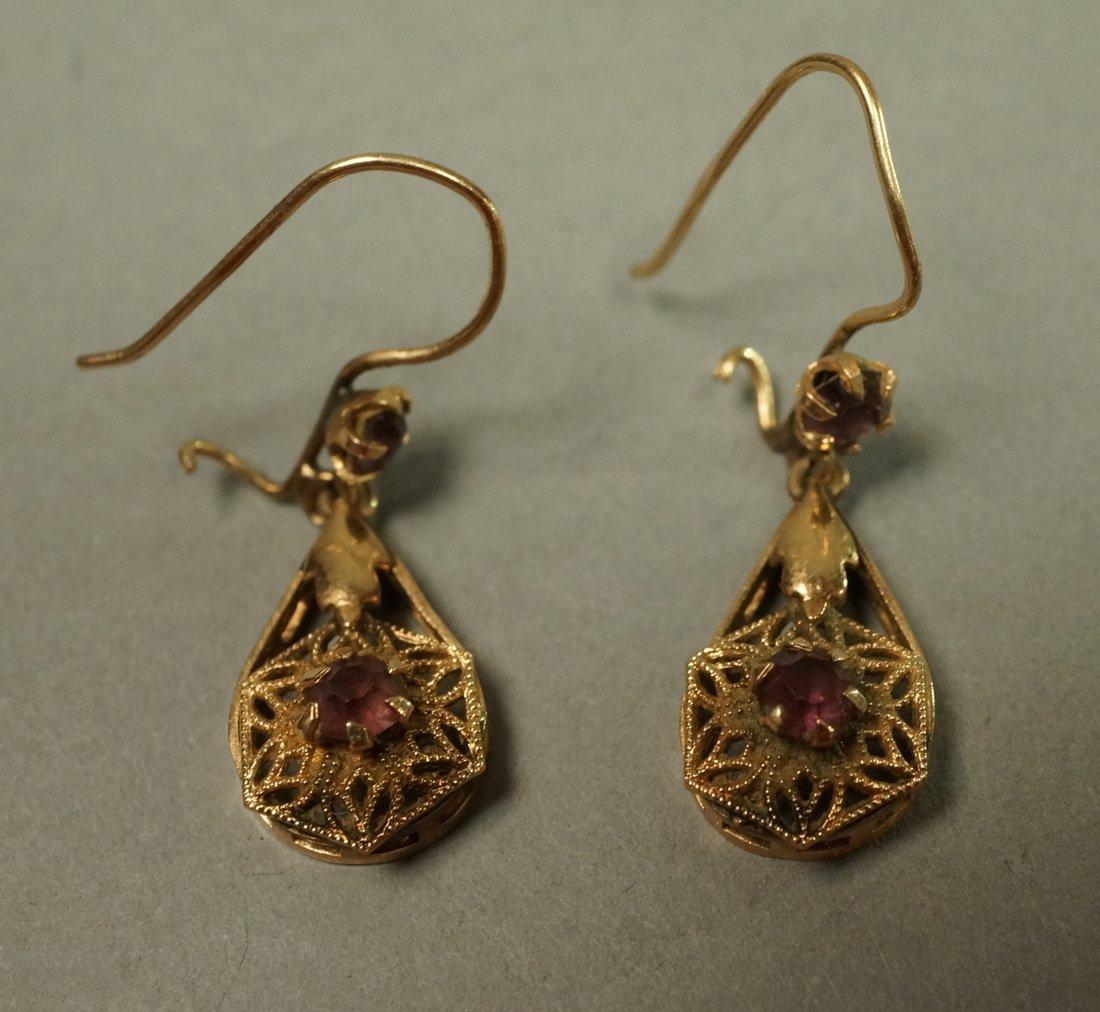 Pair 14K Gold Dangle Earrings. Filigree with smal