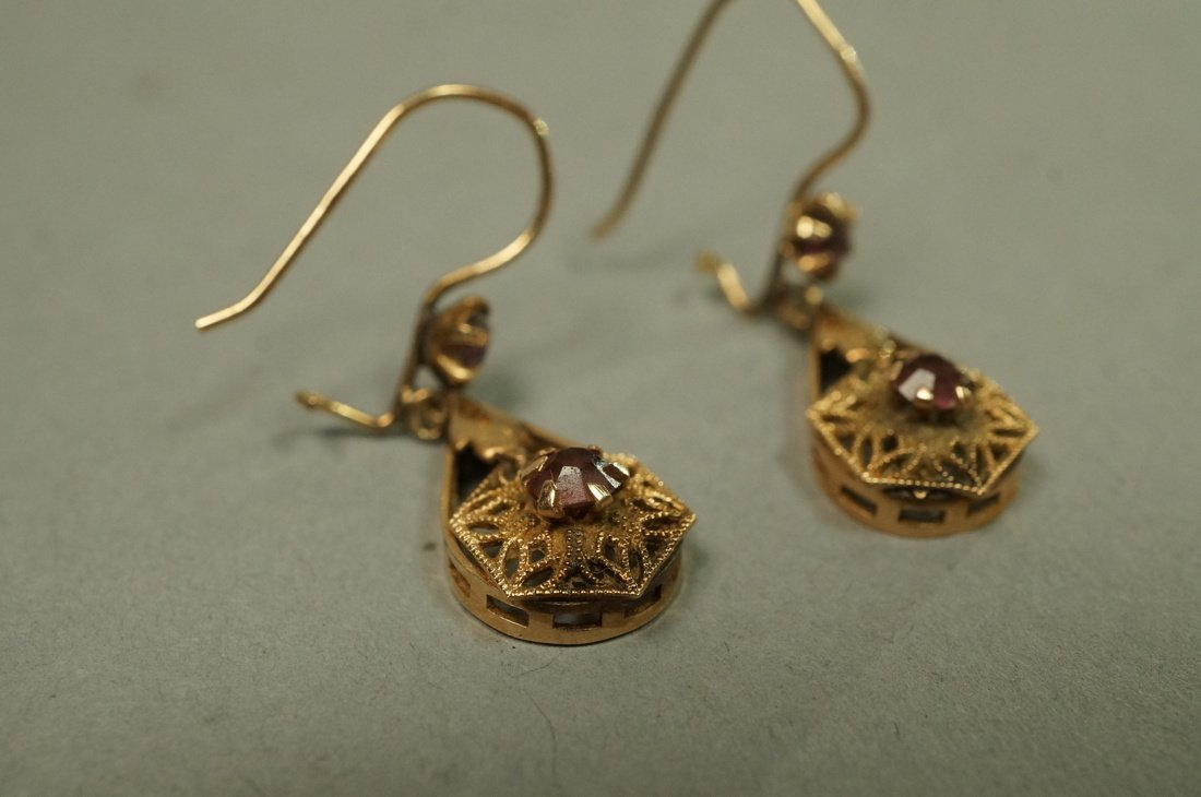 Pair 14K Gold Dangle Earrings. Filigree with smal - 2