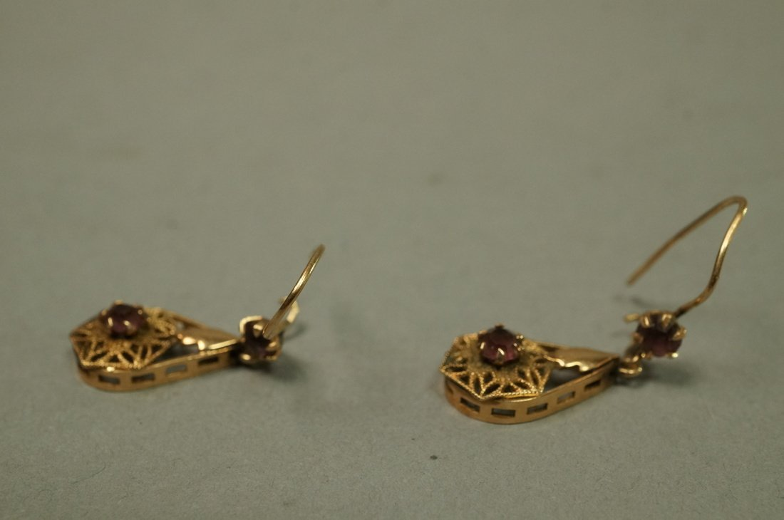 Pair 14K Gold Dangle Earrings. Filigree with smal - 3