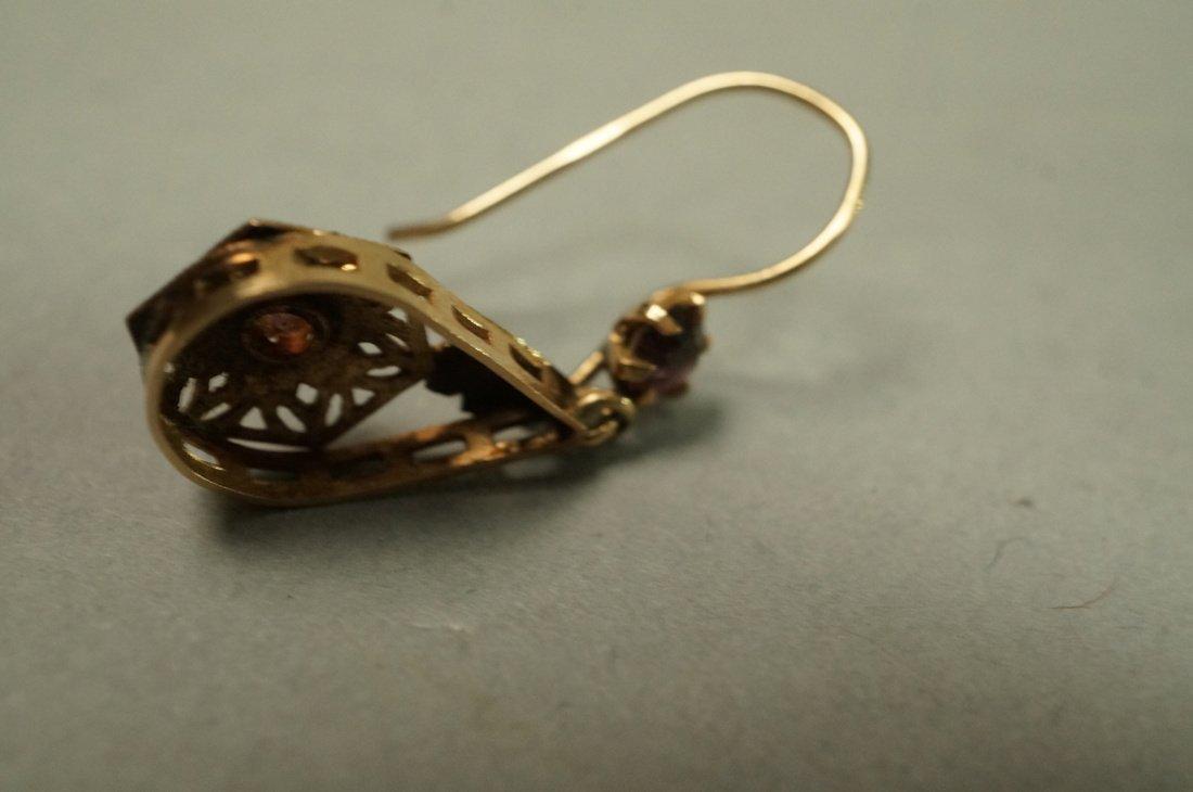 Pair 14K Gold Dangle Earrings. Filigree with smal - 4