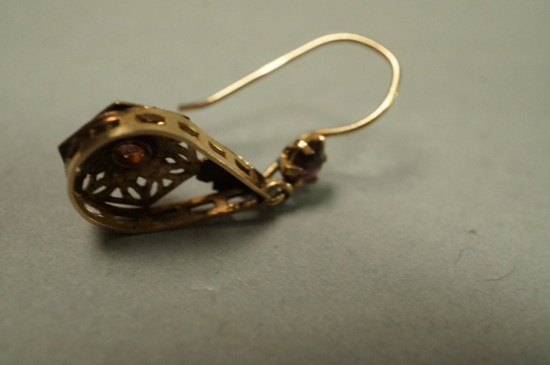 Pair 14K Gold Dangle Earrings. Filigree with smal - 4